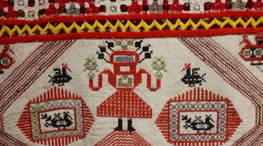 An ancient piece of Russian embroidery. (Tarnoga, Arkhangelsk region, Russia)