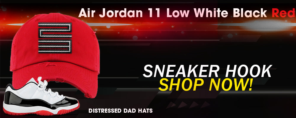 Jordan 11 Low White Black Red Distressed Dad Hats to match Sneakers | Hats to match Air Jordan 11 Low White Black Red Shoes