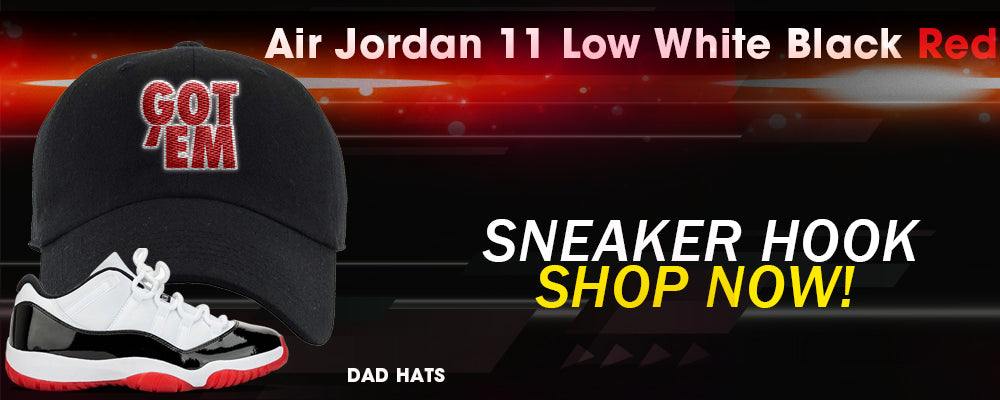 Jordan 11 Low White Black Red Dad Hats to match Sneakers | Hats to match Air Jordan 11 Low White Black Red Shoes