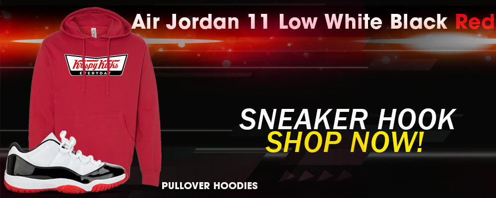 Jordan 11 Low White Black Red Pullover Hoodies to match Sneakers | Hoodies to match Air Jordan 11 Low White Black Red Shoes