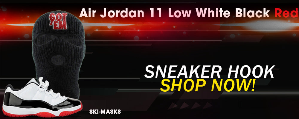 Jordan 11 Low White Black Red Ski Masks to match Sneakers | Winter Masks to match Air Jordan 11 Low White Black Red Shoes