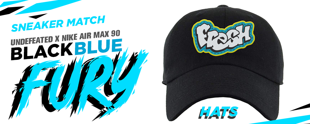 Undefeated x Nike Air Max 90 Black Blue Fury Sneaker Matching Hats