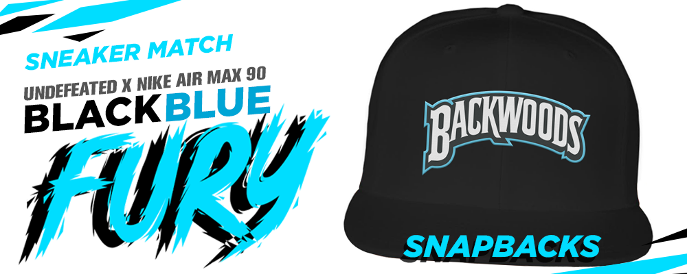 Undefeated x Nike Air Max 90 Black Blue Fury sneaker matching snapback hats
