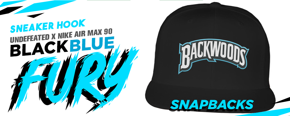 Snapback hats to match Undefeated x Air Max 90 Black Blue Fury sneakers