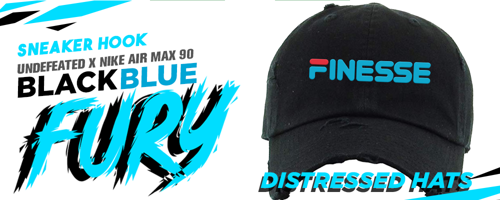 Distressed Dad Hats To Match Undefeated x Air Max 90 Black Blue Fury Sneakers