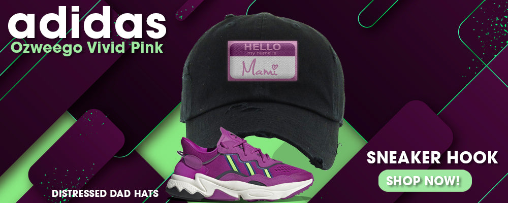 Ozweego Vivid Pink Distressed Dad Hats to match Sneakers | Hats to match Adidas Ozweego Vivid Pink Shoes