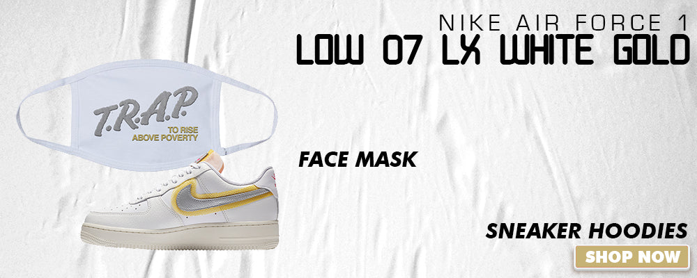 Air Force 1 Low 07 LX White Gold Face Mask to match Sneakers | Masks to match Nike Air Force 1 Low 07 LX White Gold Shoes