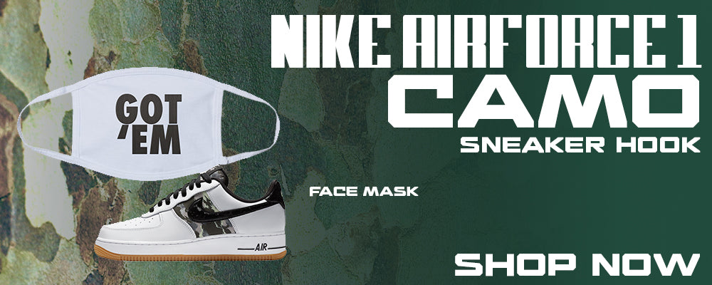 Air Force 1 Low Camo Face Mask to match Sneakers | Masks to match Nike Air Force 1 Low Camo Shoes