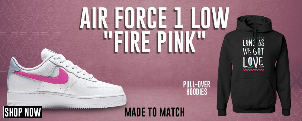 Air Force 1 Low Fire Pink Pullover Hoodies to match Sneakers | Hoodies to match Nike Air Force 1 Low Fire Pink Shoes