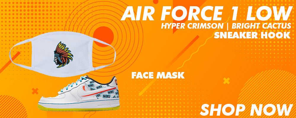 Air Force 1 Low GS Hyper Crimson / Bright Cactus Face Mask to match Sneakers | Masks to match Nike Air Force 1 Low GS Hyper Crimson / Bright Cactus Shoes