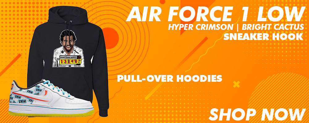 Air Force 1 Low GS Hyper Crimson / Bright Cactus Pullover Hoodies to match Sneakers | Hoodies to match Nike Air Force 1 Low GS Hyper Crimson / Bright Cactus Shoes