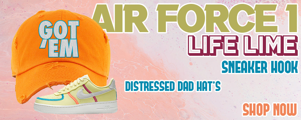 Air Force 1 Low Life Lime Distressed Dad Hats to match Sneakers | Hats to match Nike Air Force 1 Low Life Lime Shoes