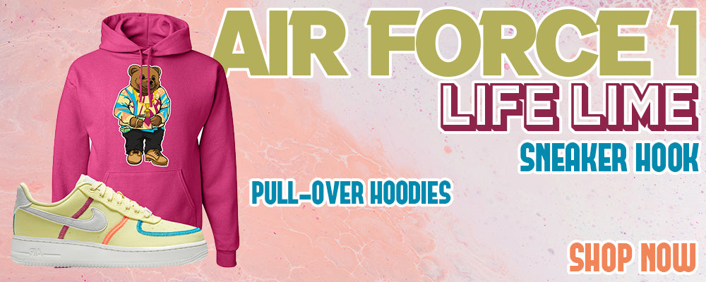 Air Force 1 Low Life Lime Pullover Hoodies to match Sneakers | Hoodies to match Nike Air Force 1 Low Life Lime Shoes