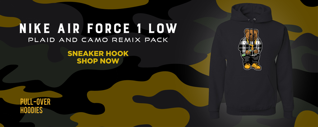 Air Force 1 Low Plaid And Camo Remix Pack Pullover Hoodies to match Sneakers | Hoodies to match Nike Air Force 1 Low Plaid And Camo Remix Pack Shoes