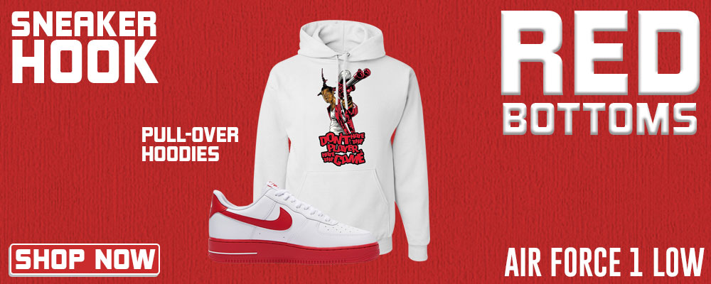 Air Force 1 Low Red Bottoms Pullover Hoodies to match Sneakers | Hoodies to match Nike Air Force 1 Low Red Bottoms Shoes