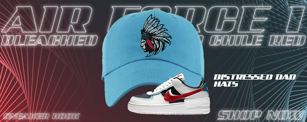 Air Force 1 Low Shadow Bleached Aqua And Chile Red Distressed Dad Hats to match Sneakers | Hats to match Nike Air Force 1 Low Shadow Bleached Aqua And Chile Red Shoes