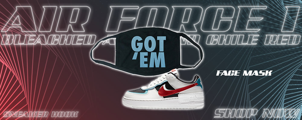Air Force 1 Low Shadow Bleached Aqua And Chile Red Face Mask to match Sneakers | Masks to match Nike Air Force 1 Low Shadow Bleached Aqua And Chile Red Shoes