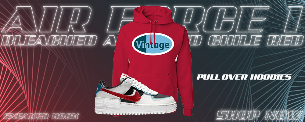 Air Force 1 Low Shadow Bleached Aqua And Chile Red Pullover Hoodies to match Sneakers | Hoodies to match Nike Air Force 1 Low Shadow Bleached Aqua And Chile Red Shoes