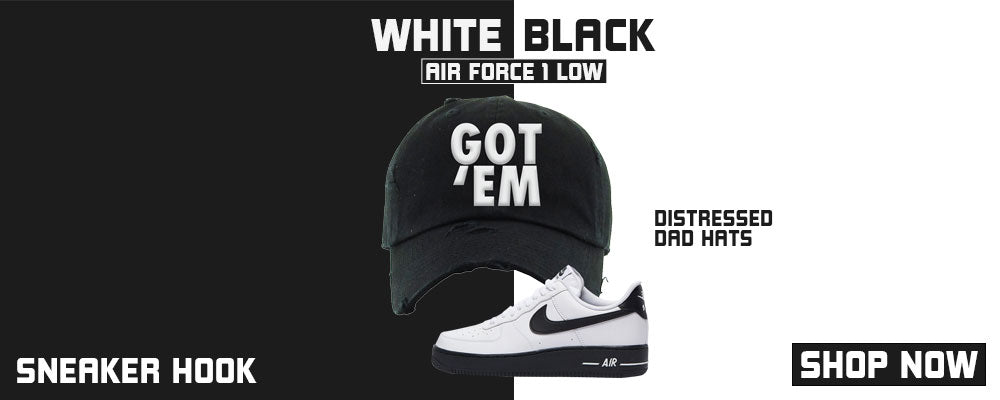 Air Force 1 Low White Black Distressed Dad Hats to match Sneakers | Hats to match Nike Air Force 1 Low White Black Shoes