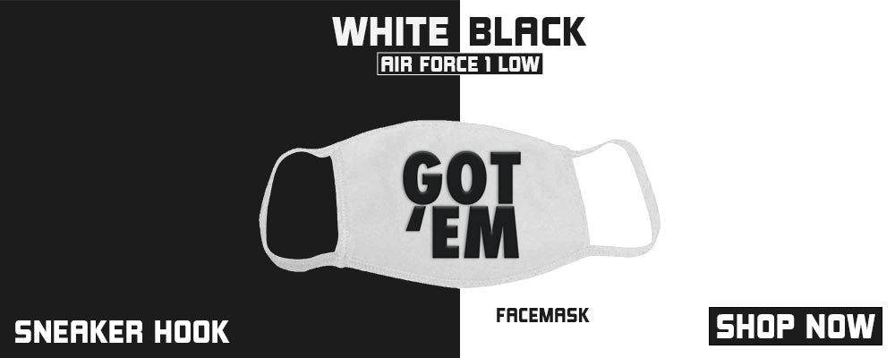 Air Force 1 Low White Black Face Mask to match Sneakers | Masks to match Nike Air Force 1 Low White Black Shoes