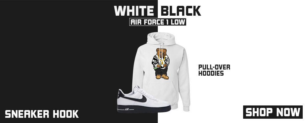 Air Force 1 Low White Black Pullover Hoodies to match Sneakers | Hoodies to match Nike Air Force 1 Low White Black Shoes