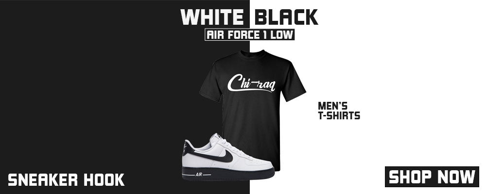 Air Force 1 Low White Black T Shirts to match Sneakers | Tees to match Nike Air Force 1 Low White Black Shoes