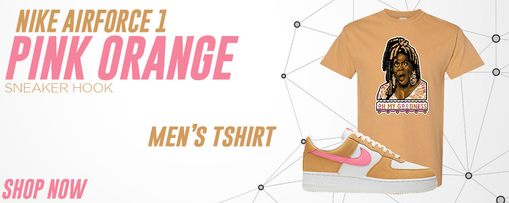 Air Force 1 Pink Orange T Shirts to match Sneakers | Tees to match Nike Air Force 1 Pink Orange Shoes