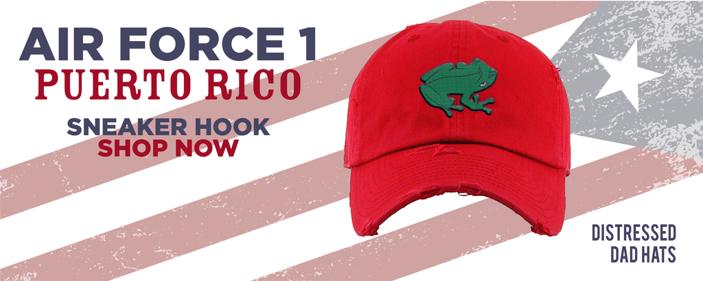 Air Force 1 Puerto Rico Distressed Dad Hats to match Sneakers | Hats to match Nike Air Force 1 Puerto Rico Shoes