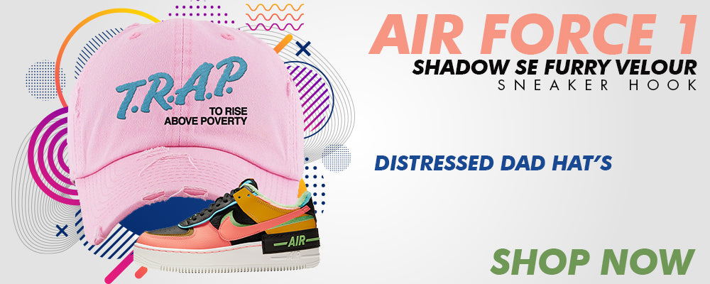 Air Force 1 Shadow SE Furry Velour Distressed Dad Hats to match Sneakers | Hats to match Nike Air Force 1 Shadow SE Furry Velour Shoes