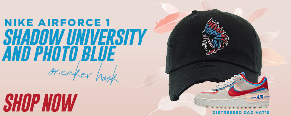 Air Force 1 Shadow University Red and Photo Blue Distressed Dad Hats to match Sneakers | Hats to match Nike Air Force 1 Shadow University Red and Photo Blue Shoes