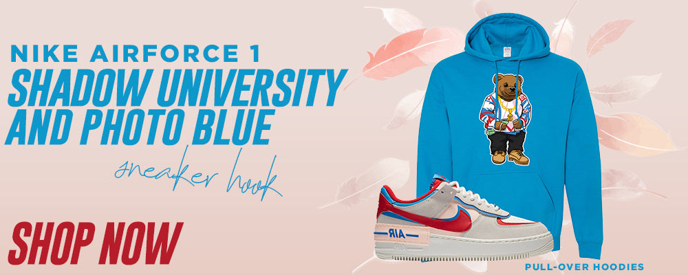 Air Force 1 Shadow University Red and Photo Blue Pullover Hoodies to match Sneakers | Hoodies to match Nike Air Force 1 Shadow University Red and Photo Blue Shoes