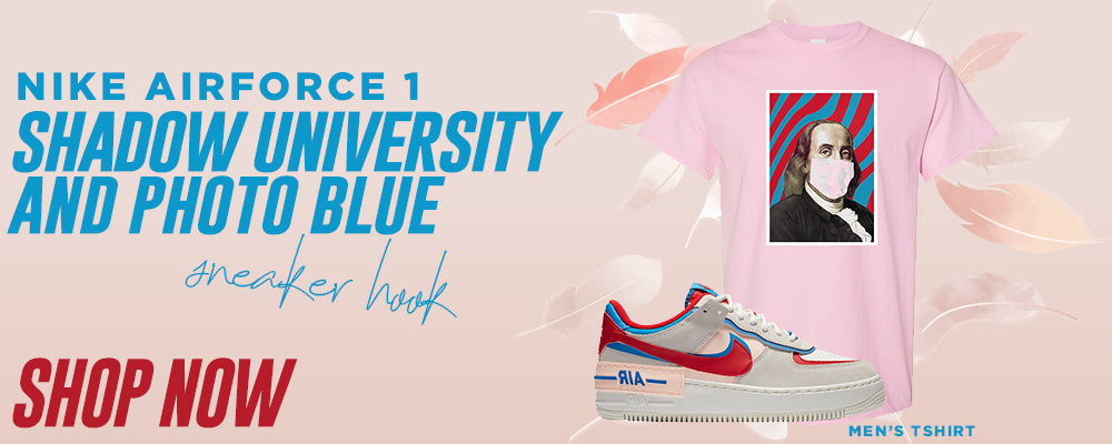 Air Force 1 Shadow University Red and Photo Blue T Shirts to match Sneakers | Tees to match Nike Air Force 1 Shadow University Red and Photo Blue Shoes