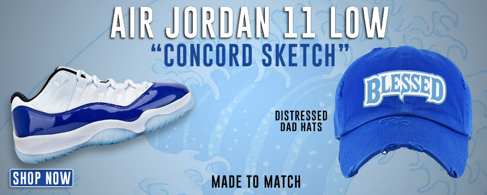 Jordan 11 Low WMNS Concord Sketch Distressed Dad Hats to match Sneakers | Hats to match Adidas Jordan 11 Low WMNS Concord Sketch Shoes