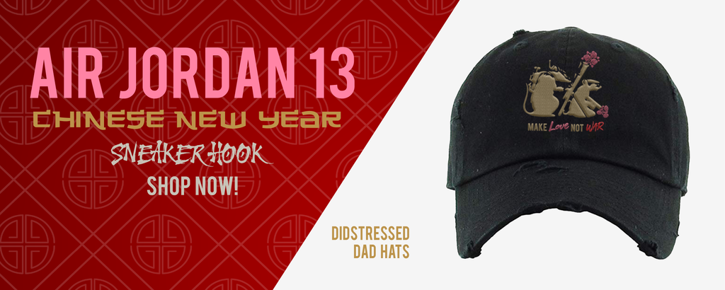 Distressed Dad Hats Made to Match Air Jordan 13 Chinese New Year Sneakers