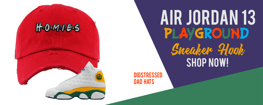 Distressed Dad Hats Made to Match Air Jordan 13 GS Playground Kids Sneakers