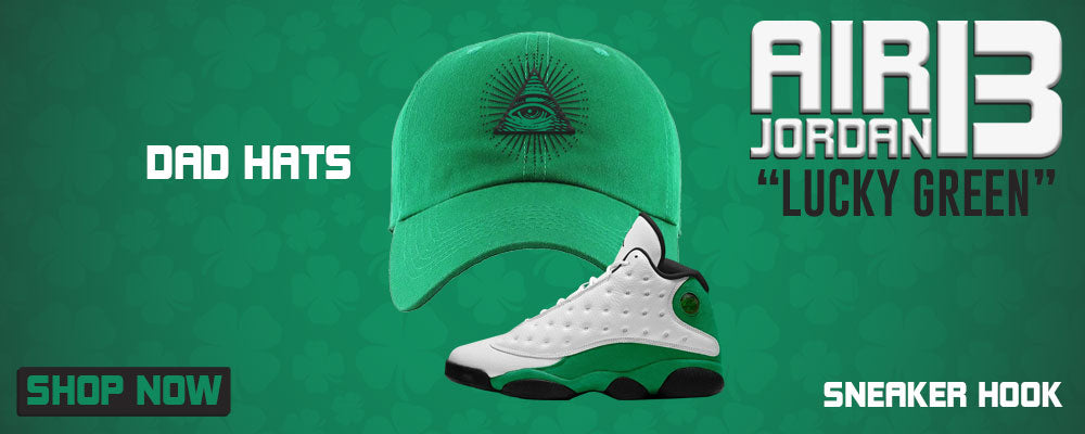 Air Jordan 13 Lucky Green Dad Hats to match Sneakers | Hats to match Nike Air Jordan 13 Lucky Green Shoes