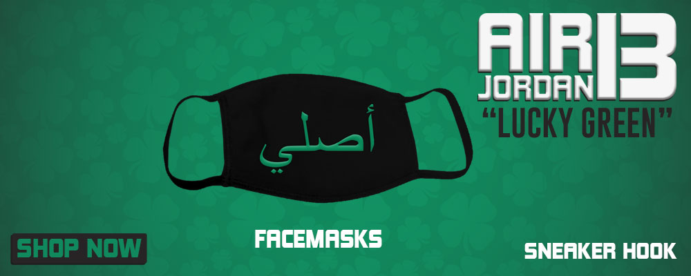 Air Jordan 13 Lucky Green Face Mask to match Sneakers | Masks to match Nike Air Jordan 13 Lucky Green Shoes
