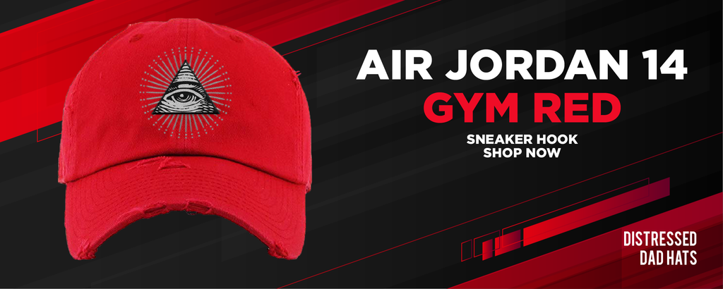 Air Jordan 14 Gym Red Distressed Dad Hats to match Sneakers | Hats to match Nike Air Jordan 14 Gym Red Shoes