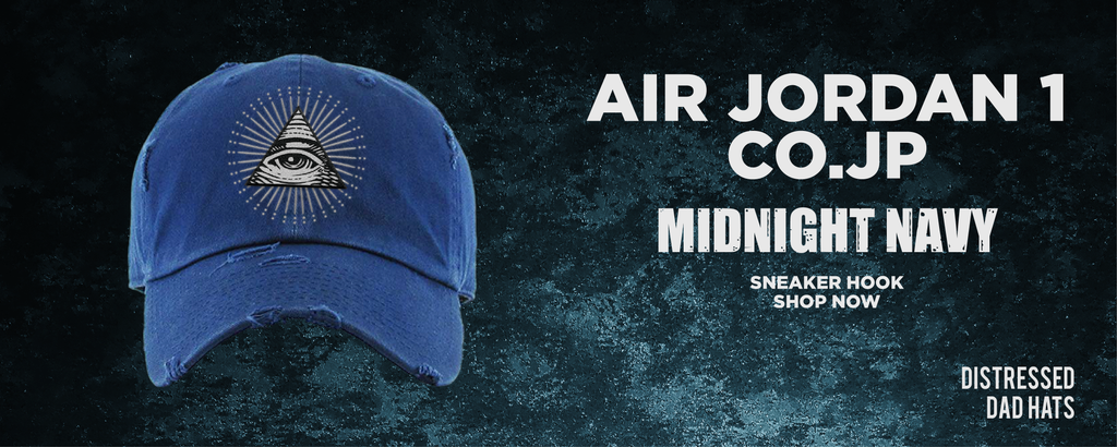 Air Jordan 1 co.jp Midnight Navy Distressed Dad Hats to match Sneakers | Hats to match Nike Air Jordan 1 co.jp Midnight Navy Shoes