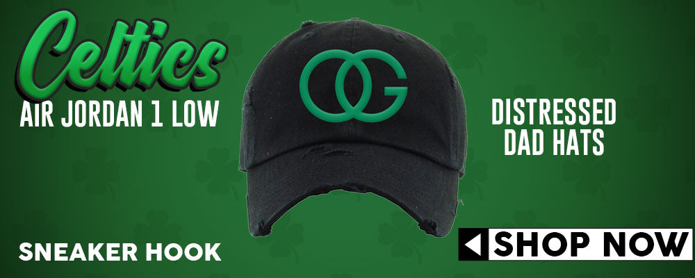 Air Jordan 1 Low Boston Celtics Distressed Dad Hats to match Sneakers | Hats to match Nike Air Jordan 1 Low Boston Celtics Shoes