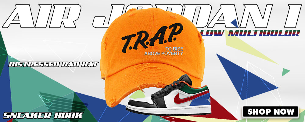Air Jordan 1 Low 'Multi-Color' Distressed Dad Hats to match Sneakers | Hats to match Nike Air Jordan 1 Low 'Multi-Color' Shoes