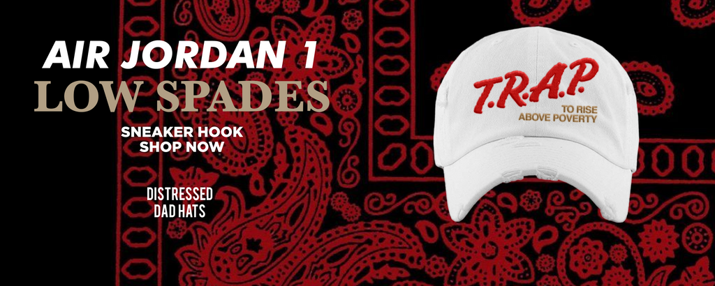 Air Jordan 1 Low Spades Distressed Dad Hats to match Sneakers | Hats to match Nike Air Jordan 1 Low Spades Shoes