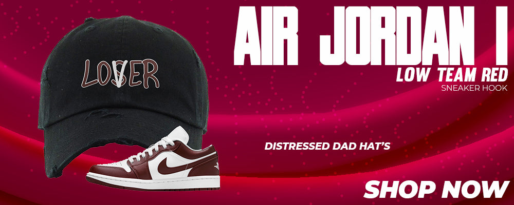 Air Jordan 1 Low Team Red Distressed Dad Hats to match Sneakers   Hats to match Nike Air Jordan 1 Low Team Red Shoes