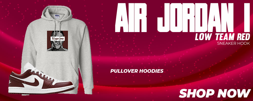 Air Jordan 1 Low Team Red Pullover Hoodies to match Sneakers   Hoodies to match Nike Air Jordan 1 Low Team Red Shoes