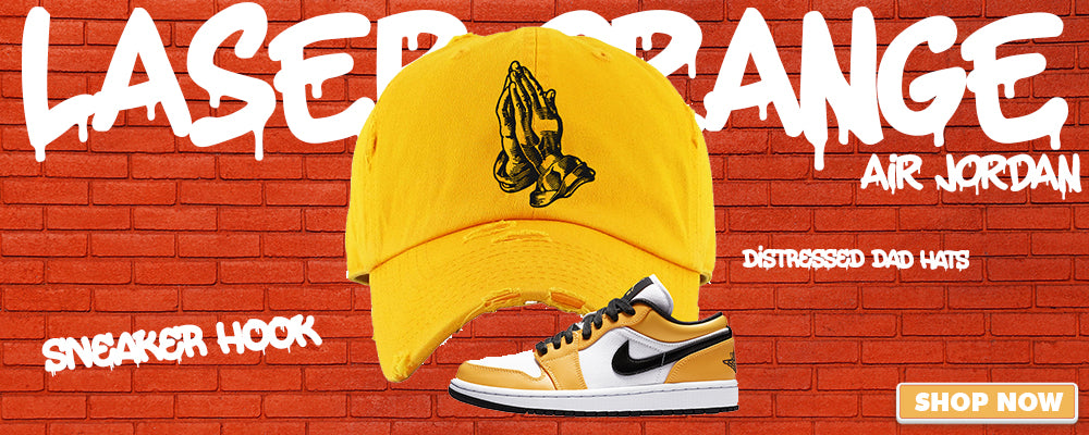 Air Jordan 1 Low WMNS Laser Orange Distressed Dad Hats to match Sneakers | Hats to match Nike Air Jordan 1 Low WMNS Laser Orange Shoes