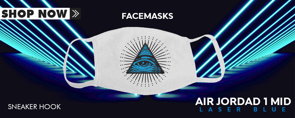Air Jordan 1 Mid Laser Blue Face Mask to match Sneakers | Masks to match Nike Air Jordan 1 Mid Laser Blue Shoes