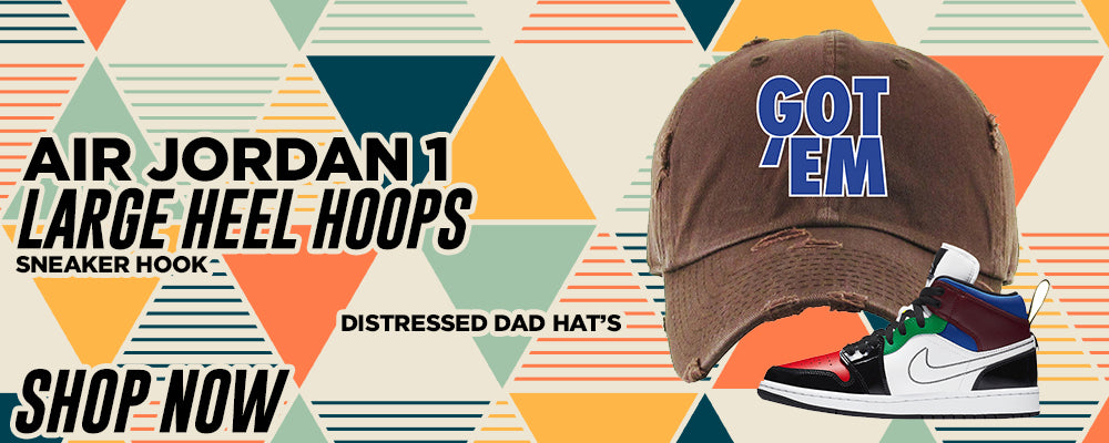 Air Jordan 1 Mid SE Large Heel Loops Distressed Dad Hats to match Sneakers | Hats to match Nike Air Jordan 1 Mid SE Large Heel Loops Shoes