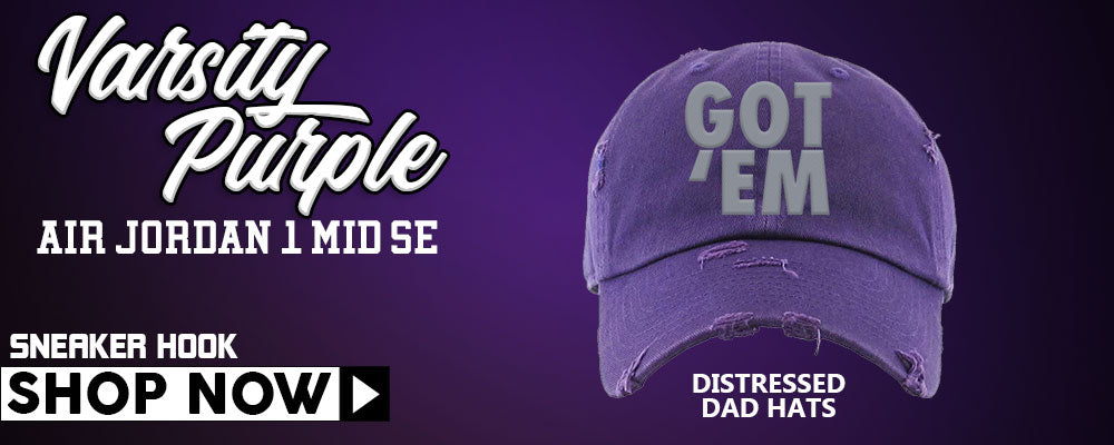 Air Jordan 1 Mid SE Varsity Purple Distressed Dad Hats to match Sneakers | Hats to match Nike Air Jordan 1 Mid SE Varsity Purple Shoes