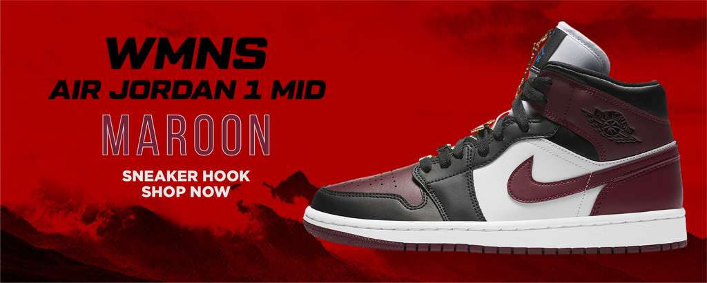WMNS Air Jordan 1 Mid Maroon Clothing to match Sneakers   Clothing to match Nike WMNS Air Jordan 1 Mid Maroon Shoes