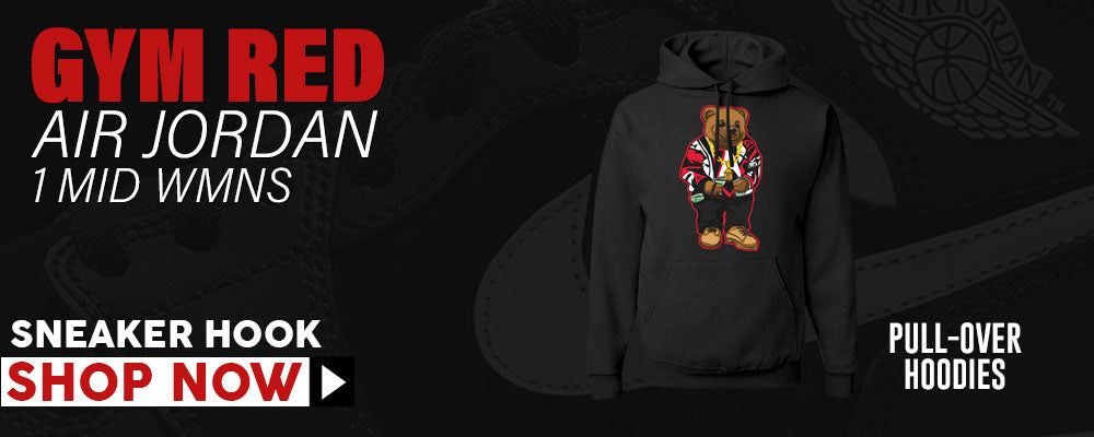 Air Jordan 1 Mid WMNS Gym Red Pullover Hoodies to match Sneakers | Hoodies to match Nike Air Jordan 1 Mid WMNS Gym Red Shoes